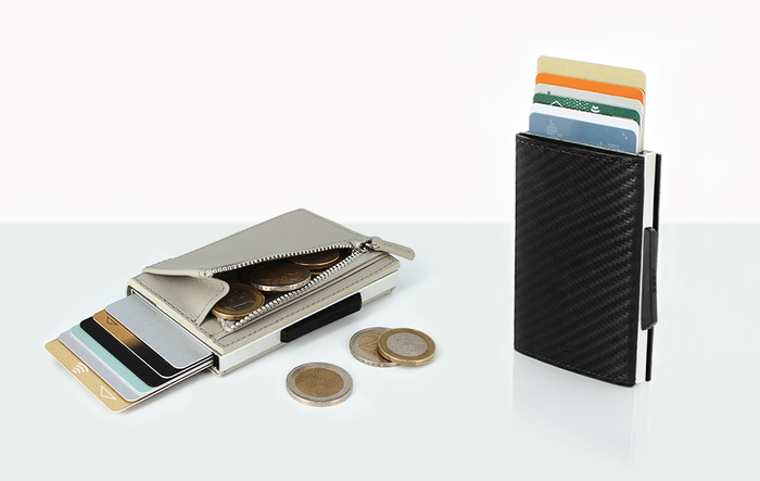ÖGON|Cascade Zipper RFID 安全防盜真皮拉鍊三摺錢包(滿版黑)
