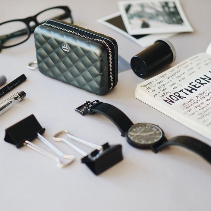 ÖGON|Quilted Zipper RFID安全防盜菱格紋拉鍊卡匣-5色任選
