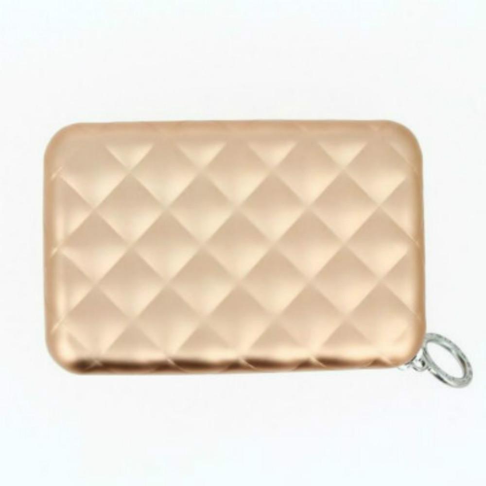 ÖGON|Quilted Zipper RFID 安全防盜菱格紋拉鍊卡匣-Rose Gold 玫瑰金