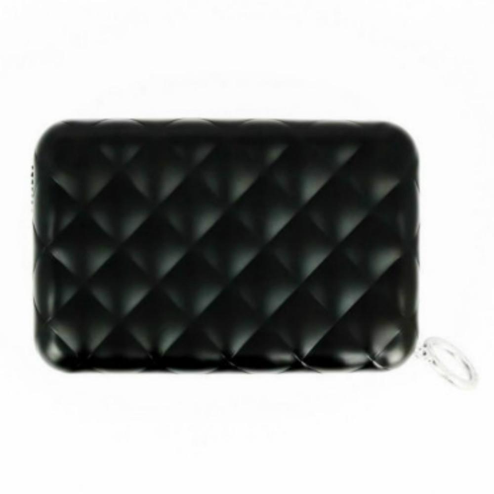 ÖGON|Quilted Zipper RFID 安全防盜菱格紋拉鍊卡匣-Black 黑色