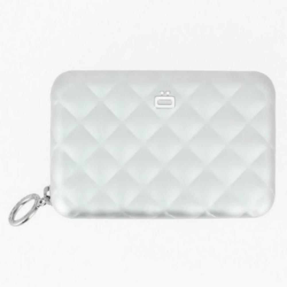 ÖGON|Quilted Zipper RFID 安全防盜菱格紋拉鍊卡匣-Silver 銀色