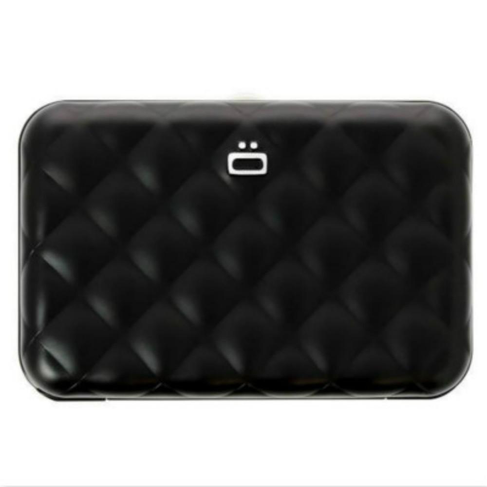 ÖGON Quilted Button RFID 安全防盜菱格紋卡匣-Black 黑色