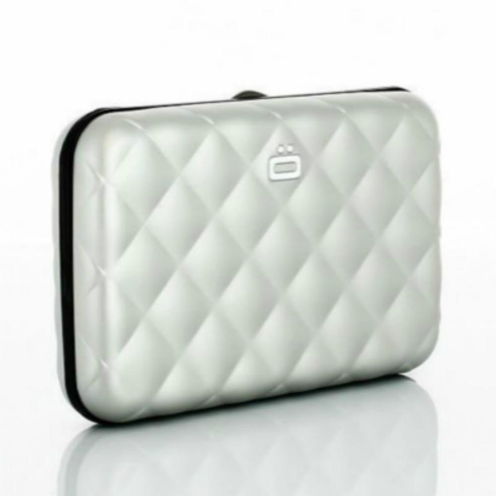 ÖGON Quilted Button RFID 安全防盜菱格紋卡匣-Silver 銀色