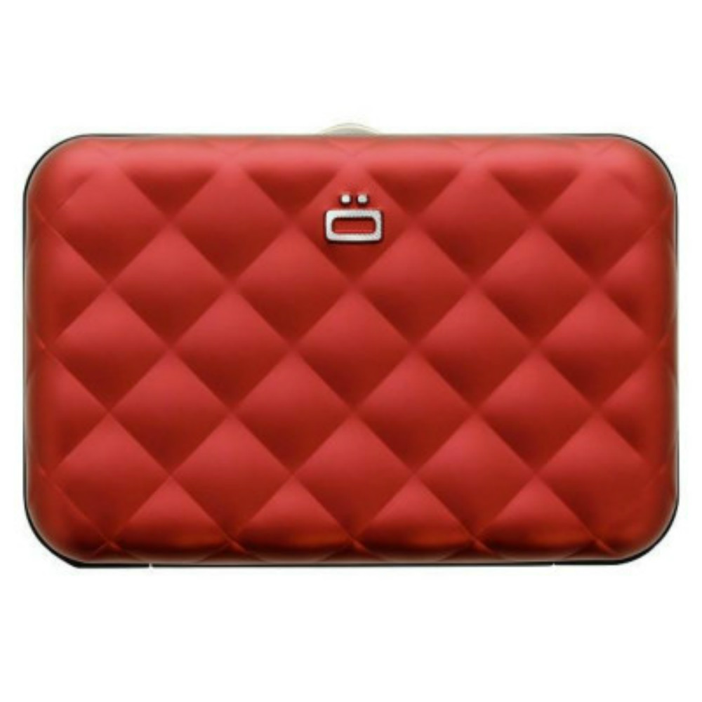 ÖGON Quilted Button RFID 安全防盜菱格紋卡匣-Red 紅色