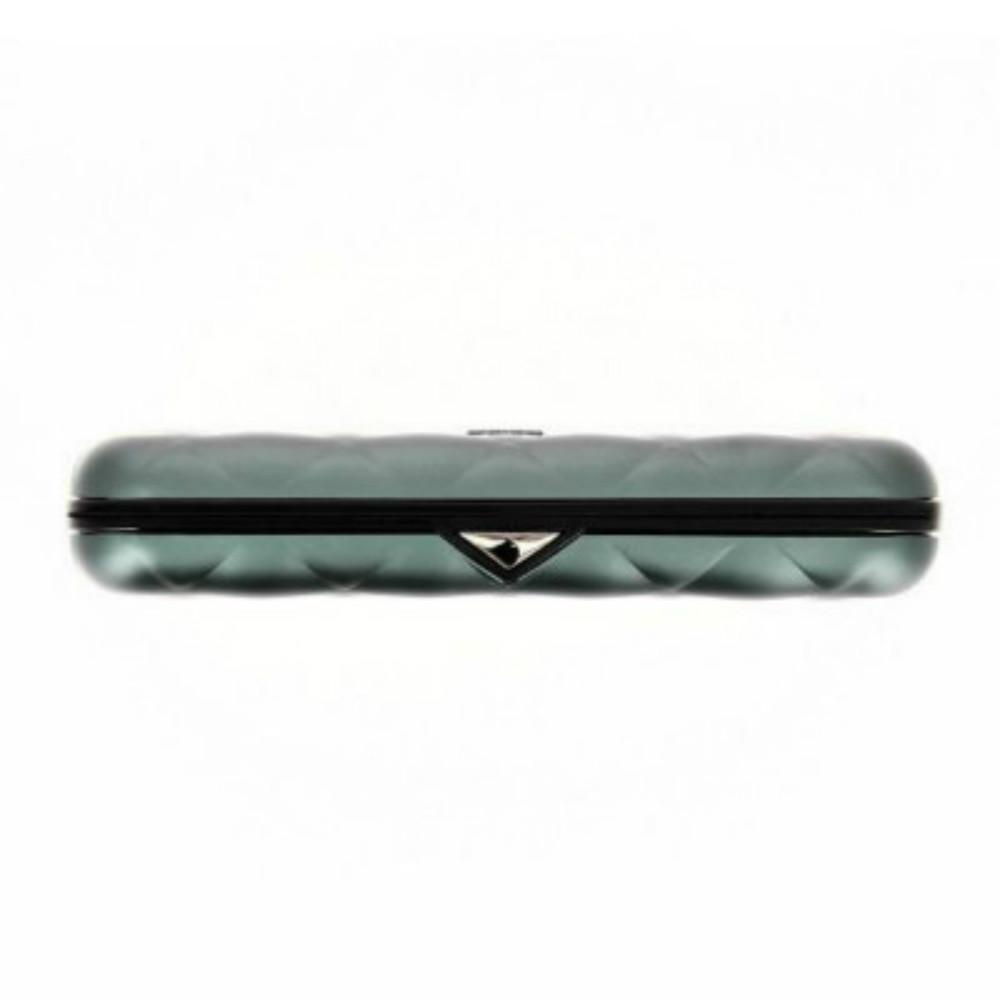 ÖGON|Quilted Button RFID 安全防盜菱格紋卡匣-Platinium 鈦灰色
