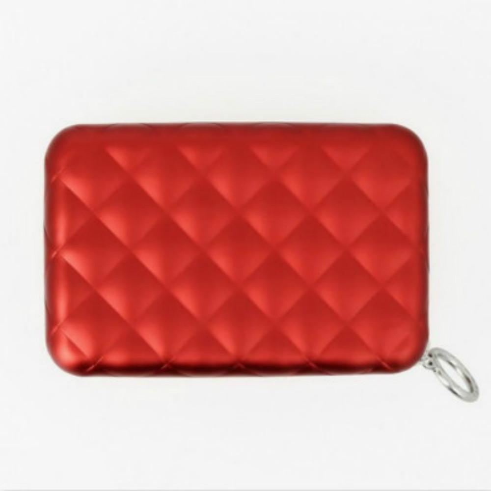 ÖGON Quilted Zipper RFID 安全防盜菱格紋拉鍊卡匣-Red 紅色