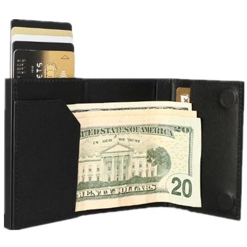 ÖGON|Cascade Wallet RFID 安全防盜真皮三摺錢包-Full Black 滿版黑色真皮