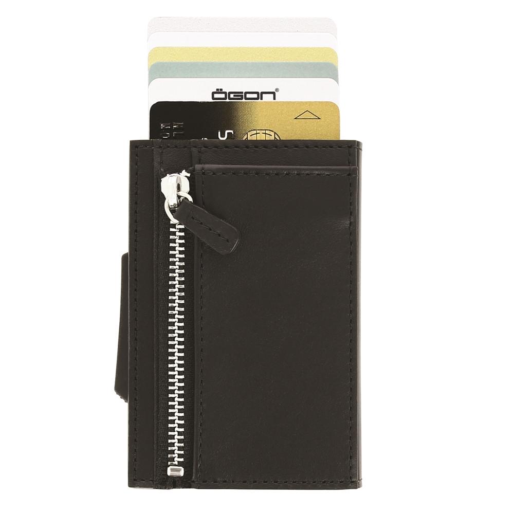 ÖGON|Cascade Zipper Wallet RFID 安全防盜真皮拉鍊三摺錢包-Full Black 滿版黑色真皮
