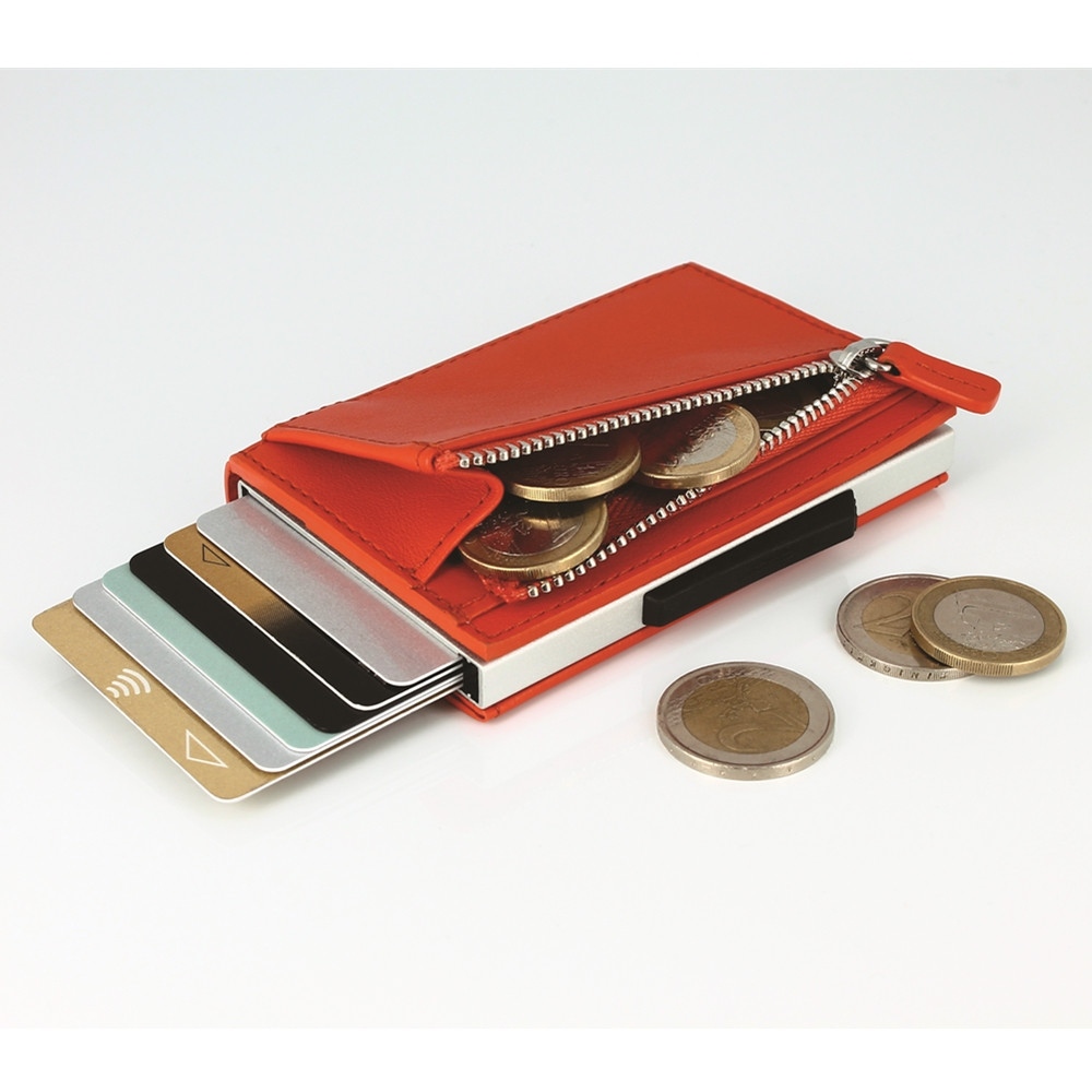 ÖGON Cascade Zipper Wallet RFID 安全防盜真皮拉鍊三摺錢包-Orange Leather 橘色真皮