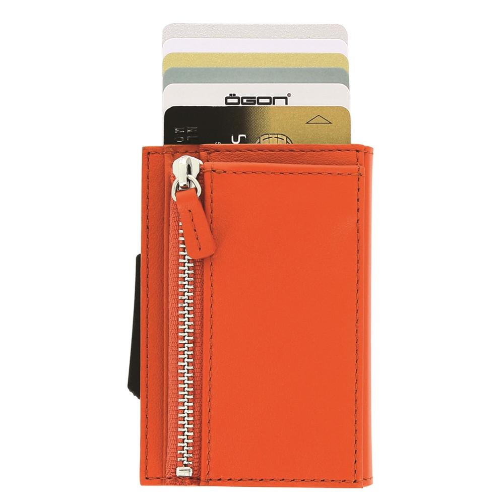 ÖGON|Cascade Zipper RFID 安全防盜真皮拉鍊三摺錢包(橘色)