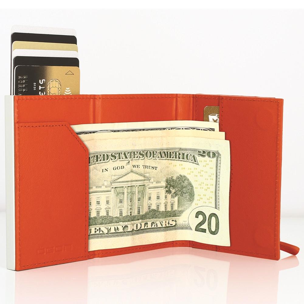 ÖGON|Cascade Zipper Wallet RFID 安全防盜真皮拉鍊三摺錢包-Orange Leather 橘色真皮