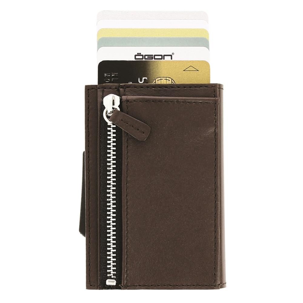 ÖGON|Cascade Zipper Wallet RFID 安全防盜真皮拉鍊三摺錢包-Dark Brown 深咖啡色