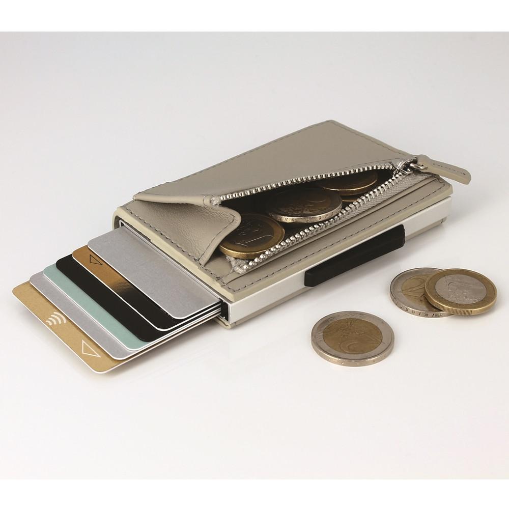 ÖGON|Cascade Zipper Wallet RFID 安全防盜真皮拉鍊三摺錢包-Blaster 太空銀