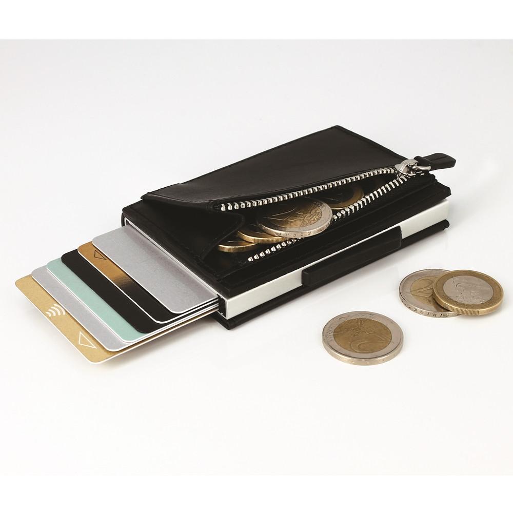 ÖGON|Cascade Zipper Wallet RFID 安全防盜真皮拉鍊三摺錢包-Black Leather 黑色真皮