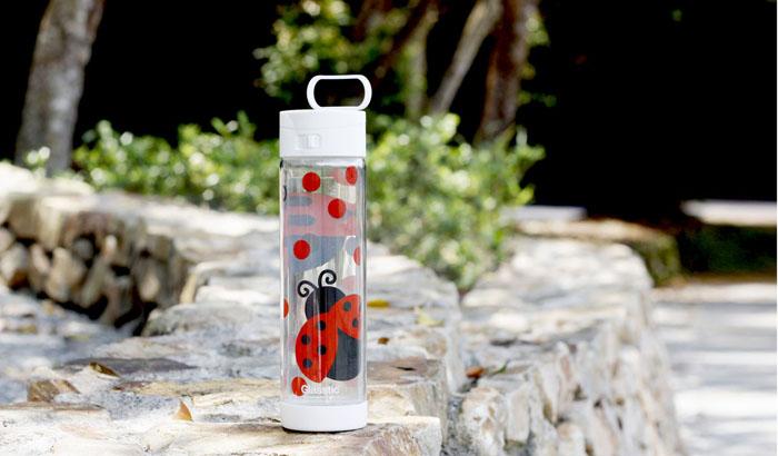 美國 Glasstic│安全防護玻璃水瓶470ml經典小lo款-掀蓋白+瓢蟲圖卡