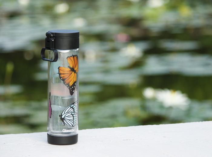 (複製)美國 Glasstic│安全防護玻璃水瓶470ml經典小lo款-掀蓋黑(搭贈籃球圖卡)