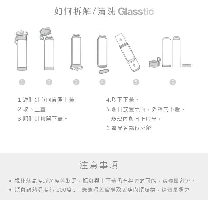 美國 Glasstic│安全防護玻璃運動水瓶470ml經典款-掀蓋桃紅