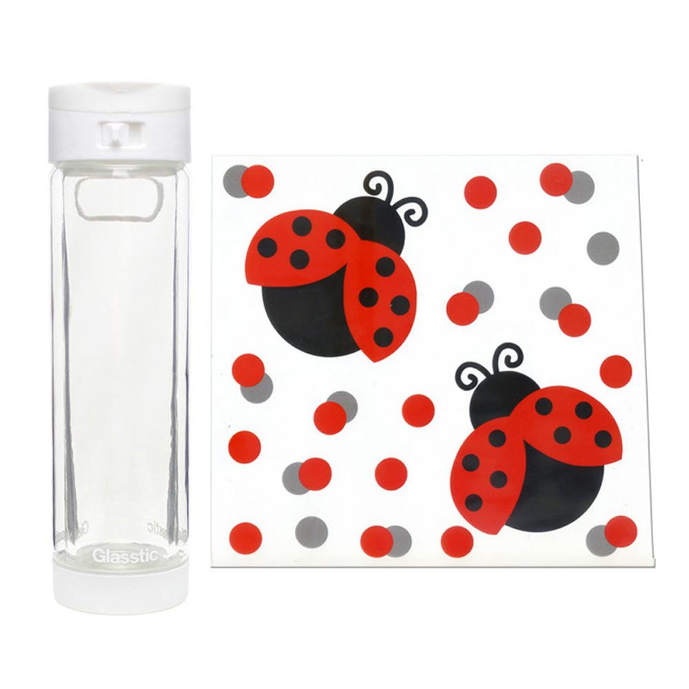 美國 Glasstic│安全防護玻璃水瓶470ml掀蓋白(送)可愛瓢蟲圖卡+Glasstic專用茶隔濾網
