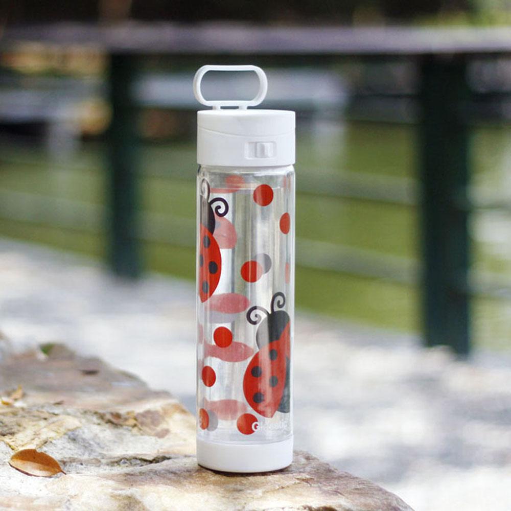 美國 Glasstic 安全防護玻璃水瓶470ml掀蓋白(送)可愛瓢蟲圖卡