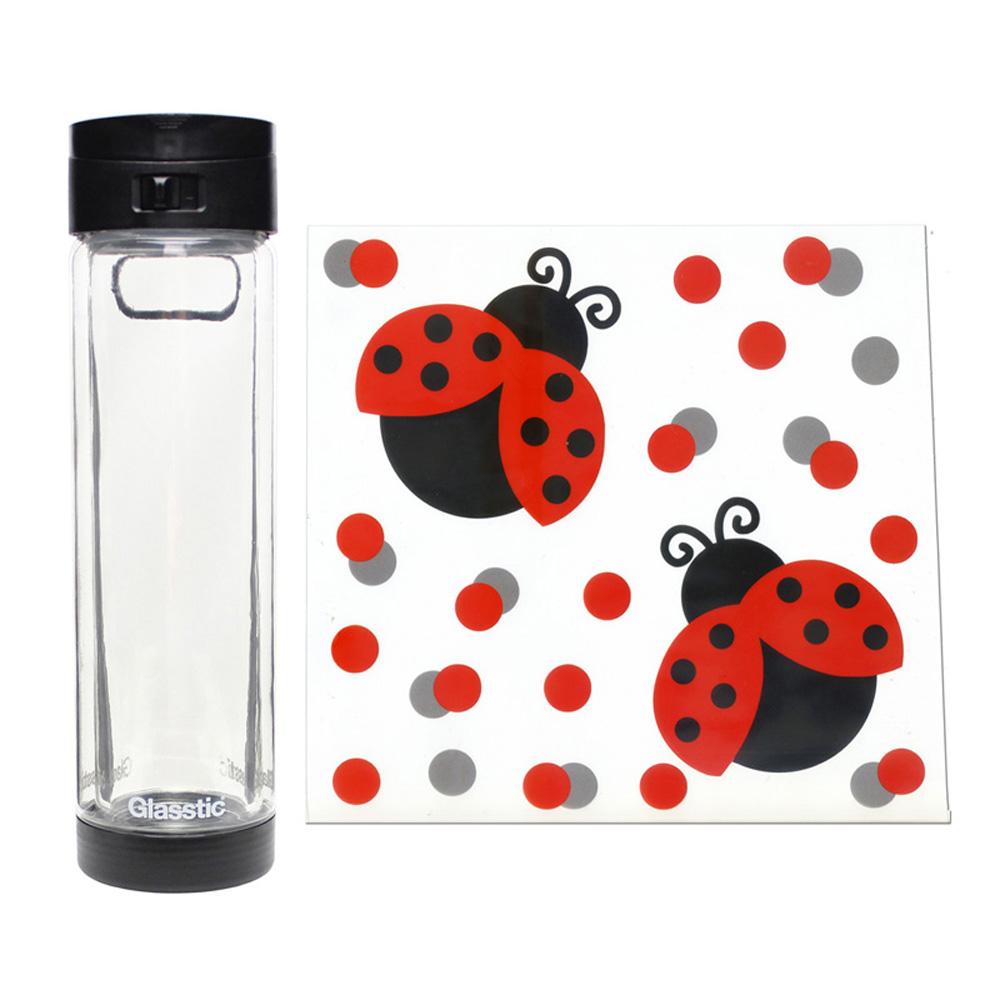 美國 Glasstic│安全防護玻璃水瓶470ml掀蓋黑(送)可愛瓢蟲圖卡+Glasstic專用茶隔濾網