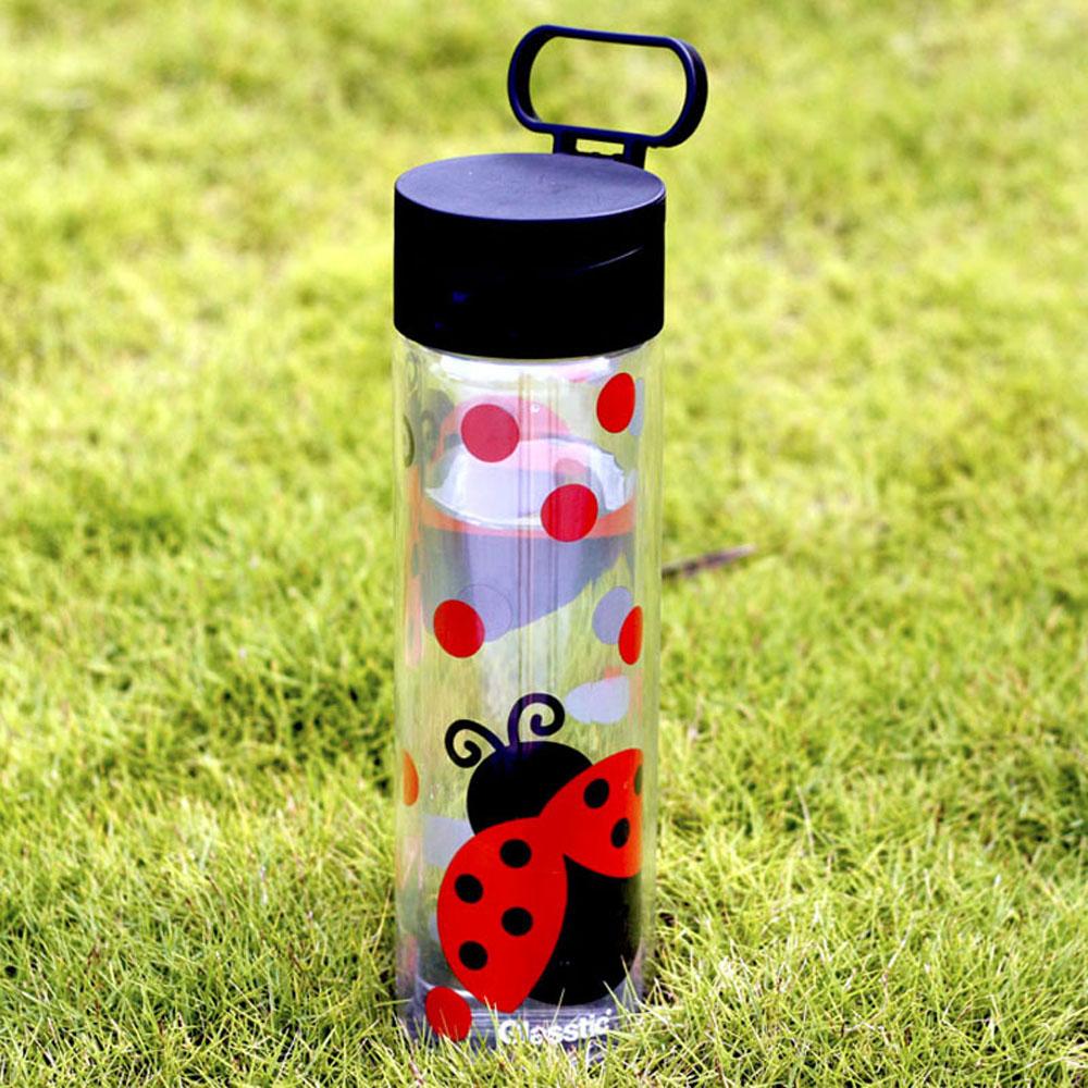 美國 Glasstic│安全防護玻璃水瓶470ml經典小lo款-掀蓋黑(搭贈可愛瓢蟲圖卡)