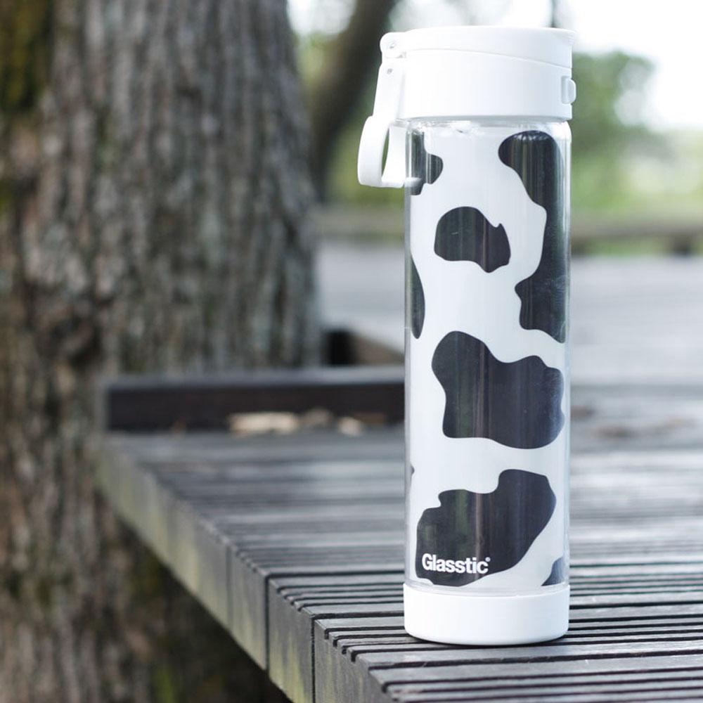 美國 Glasstic|安全防護玻璃水瓶470ml掀蓋白(送)可愛乳牛圖卡