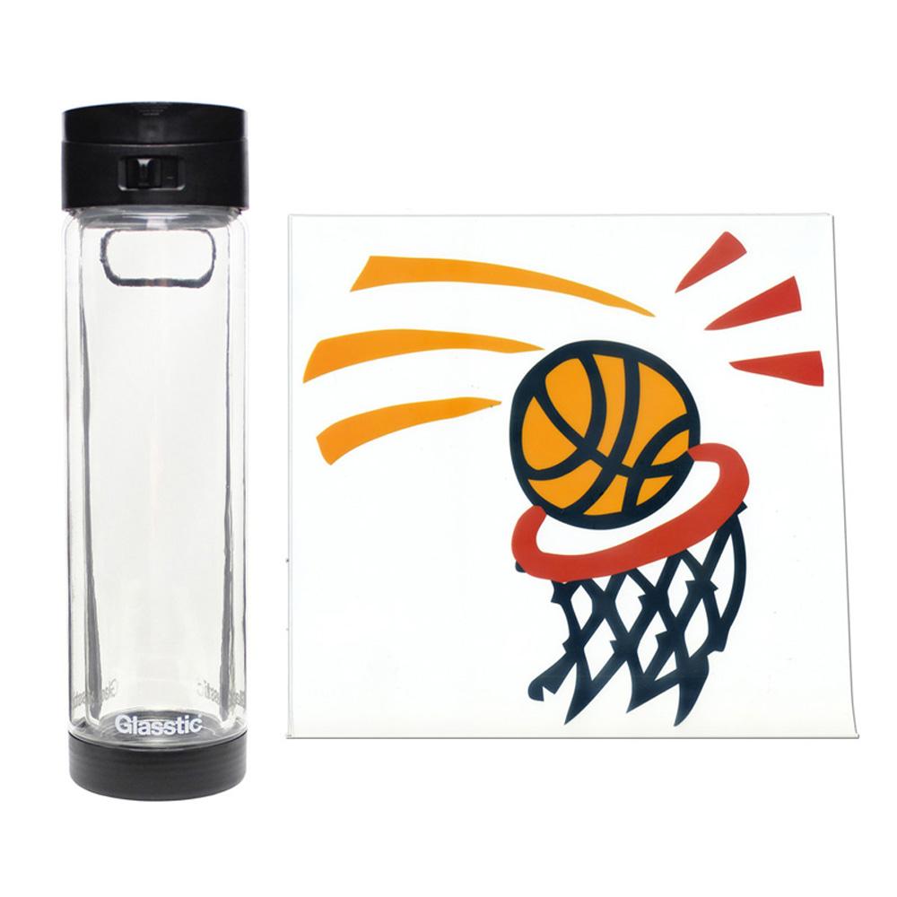 美國 Glasstic│安全防護玻璃水瓶470ml掀蓋黑(送)籃球圖卡+Glasstic專用茶隔濾網