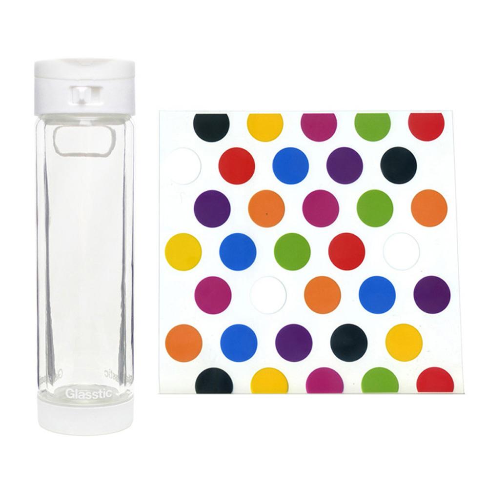 美國 Glasstic 安全防護玻璃水瓶470ml掀蓋白(送)普普風圖卡