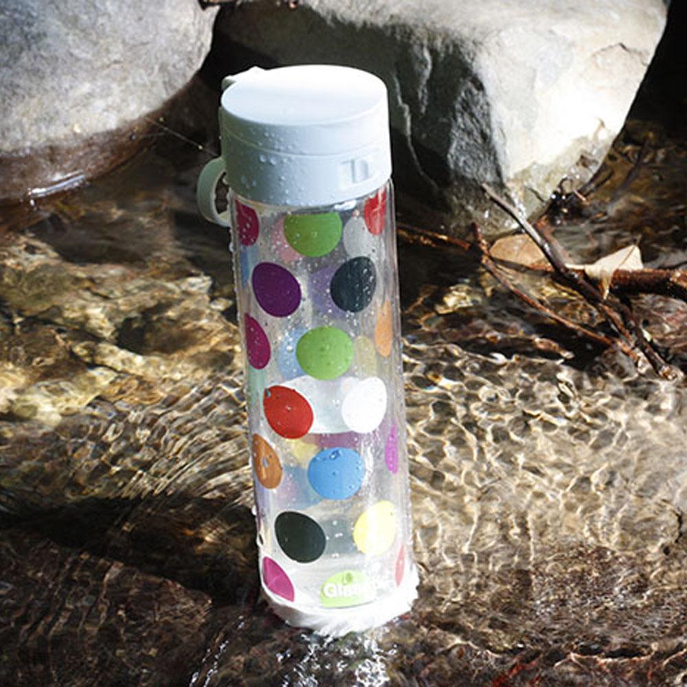 美國 Glasstic|安全防護玻璃水瓶470ml掀蓋白(送)普普風圖卡