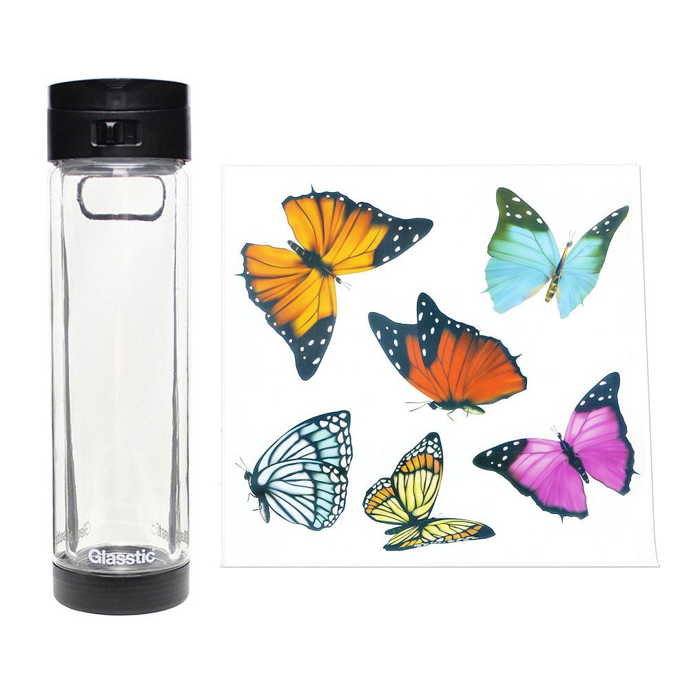 美國 Glasstic|安全防護玻璃水瓶470ml掀蓋黑(送)蝴蝶圖卡