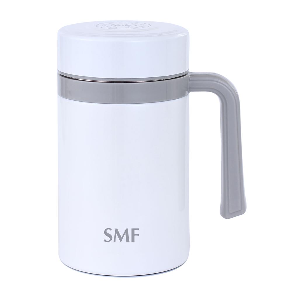 SMF│骨瓷真空保溫杯(雙色白 475ml 握把系列)
