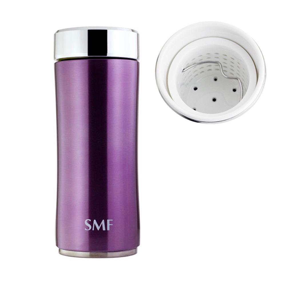 SMF│鋅時尚濾茶骨瓷保溫杯340ml-羅蘭紫 送專用帆布束口袋