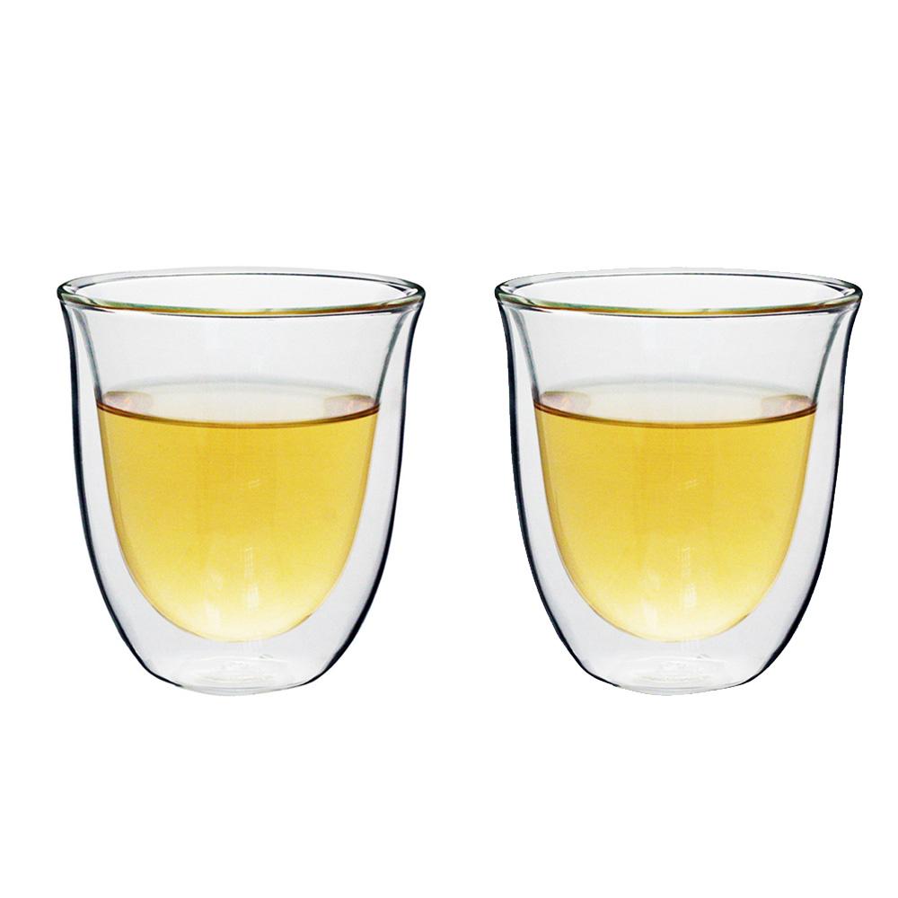 iLoveGlass │雙層隔冰熱玻璃曲線杯 230ml (2入)