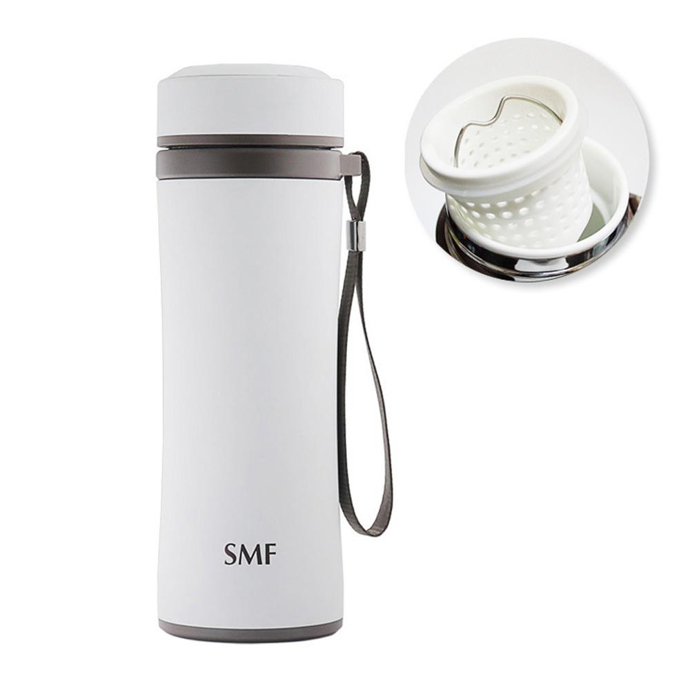 SMF 提繩防摔骨瓷保溫杯420ml (牽手杯) (茶隔款雙色可選)