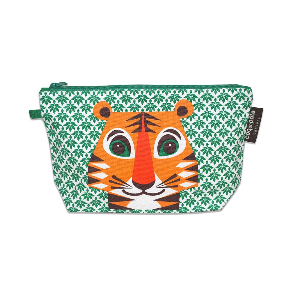 COQENPATE│法國有機棉無毒環保化妝包 / 筆袋- 畫筆兒的家 - 老虎