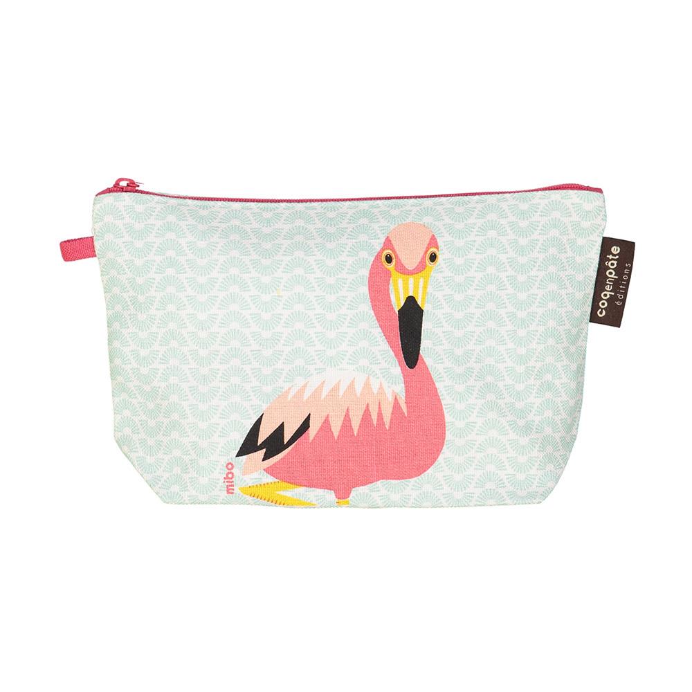 COQENPATE│法國有機棉無毒環保化妝包 / 筆袋- 畫筆兒的家 - 火鶴