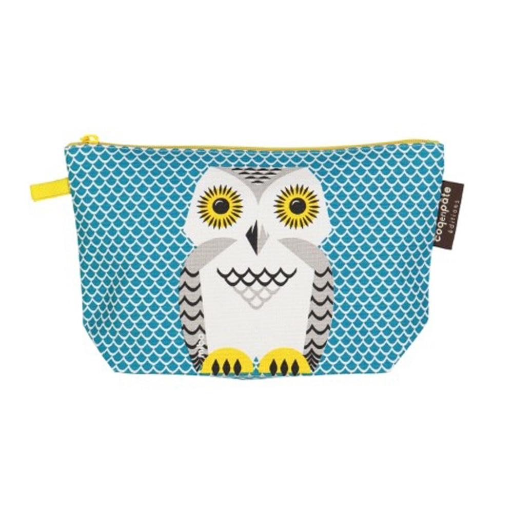 COQENPATE│法國有機棉無毒環保化妝包 / 筆袋- 畫筆兒的家 - 貓頭鷹