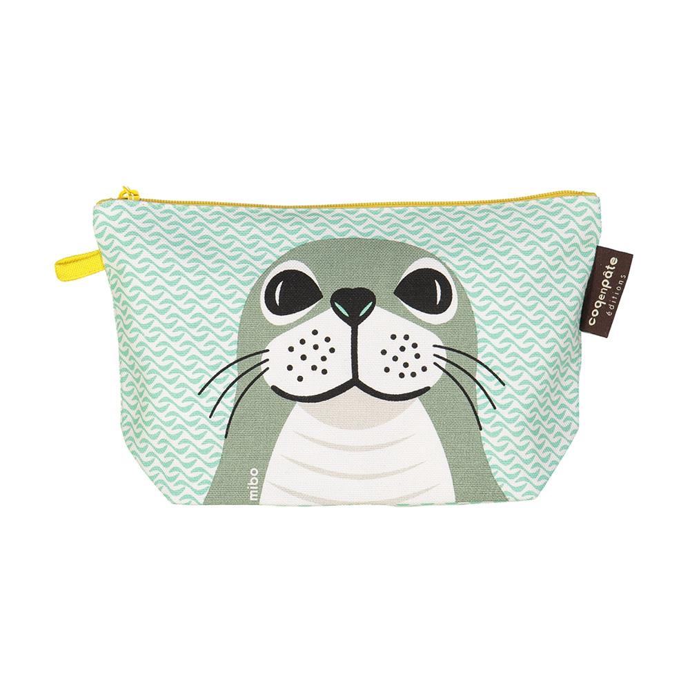 COQENPATE│法國有機棉無毒環保化妝包 / 筆袋- 畫筆兒的家 - 海豹