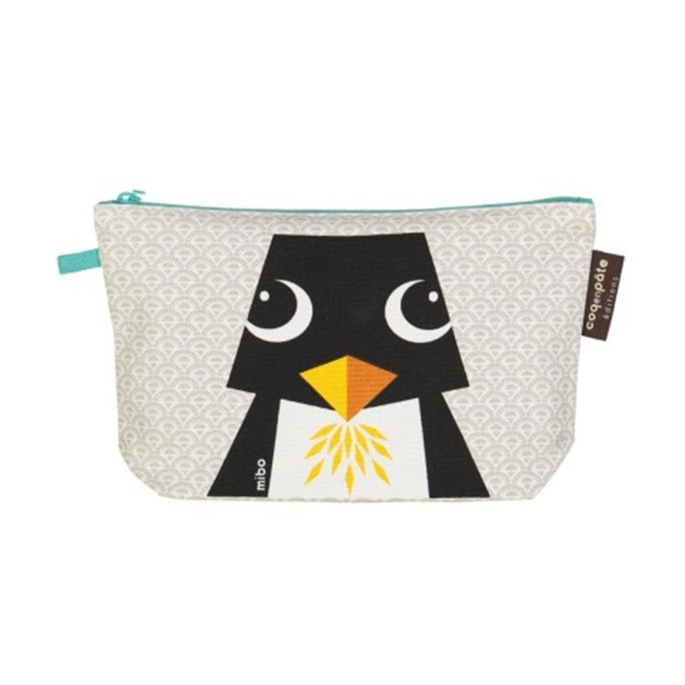 COQENPATE│法國有機棉無毒環保化妝包 / 筆袋- 畫筆兒的家 - 企鵝