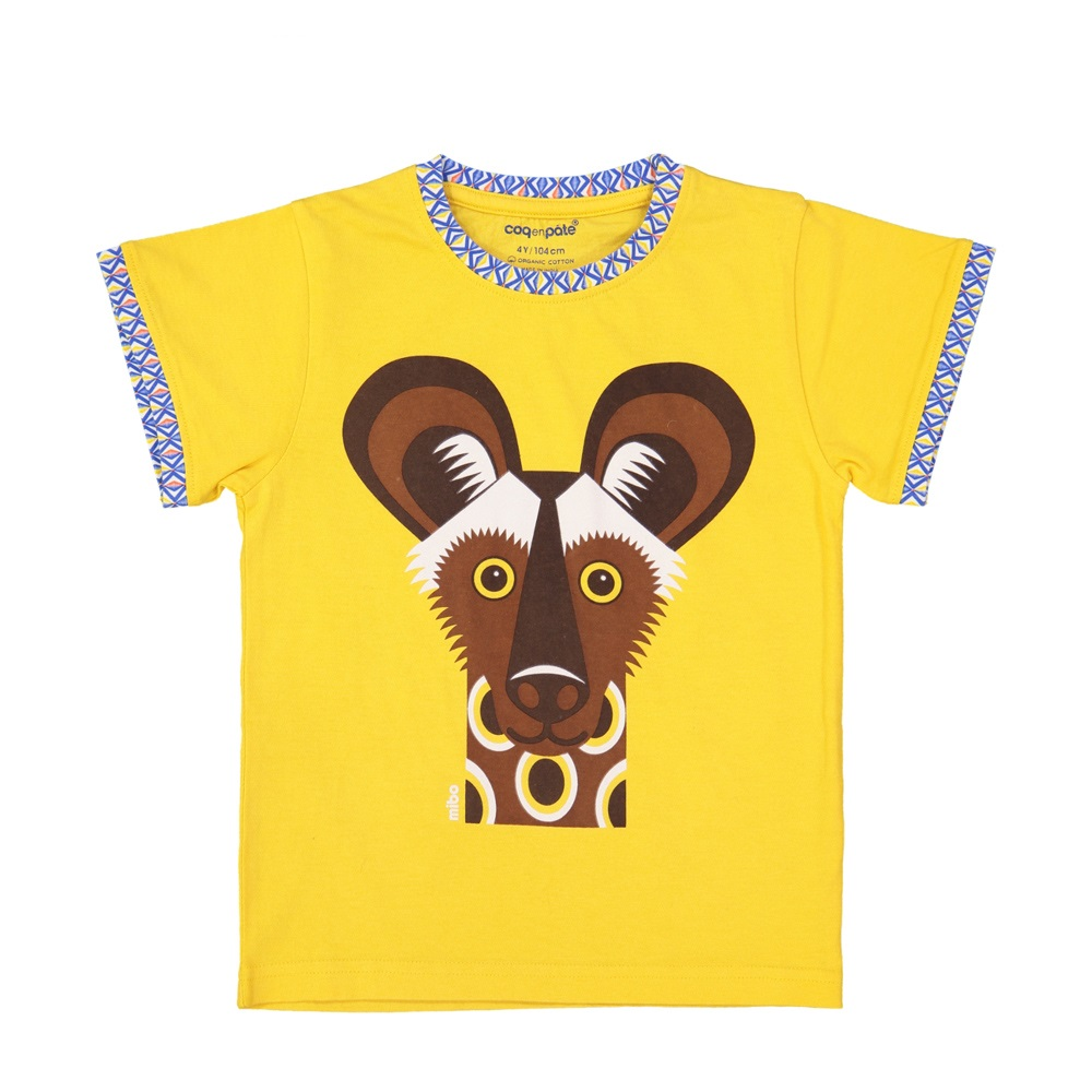 COQENPATE│法國有機棉童趣 短袖 T-SHIRT - 非洲野犬