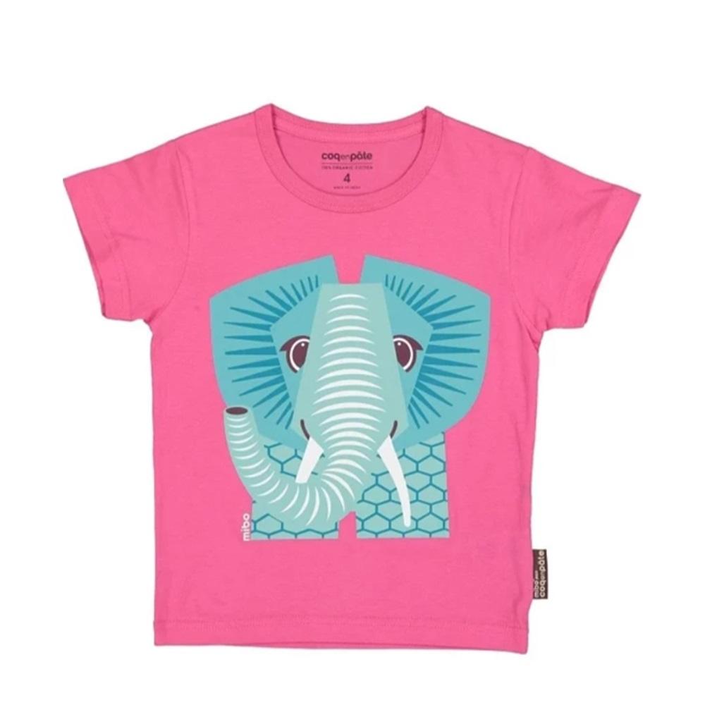 COQENPATE│法國有機棉童趣 短袖 T-SHIRT - 大象