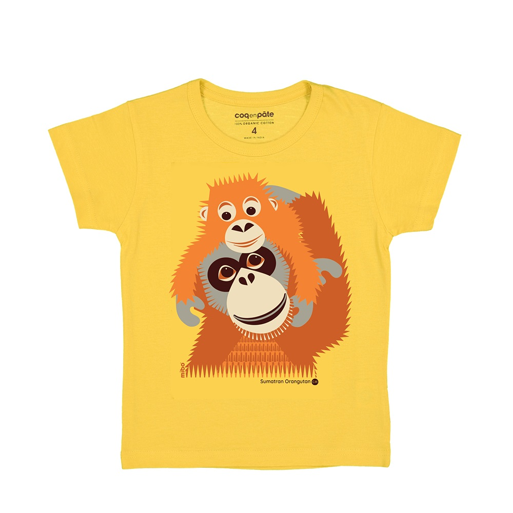 COQENPATE│法國有機棉童趣 短袖 T-SHIRT - 紅毛猩猩