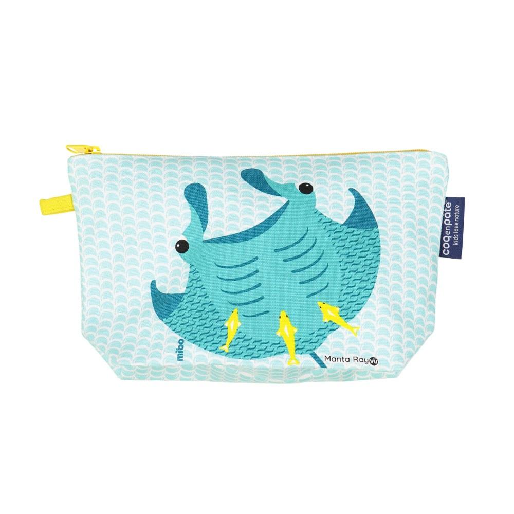 COQENPATE│法國有機棉無毒環保化妝包 / 筆袋- 畫筆兒的家 -  魟魚