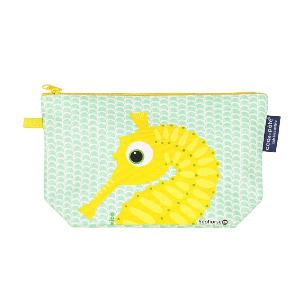 COQENPATE│法國有機棉無毒環保化妝包 / 筆袋- 畫筆兒的家 - 海馬(N)