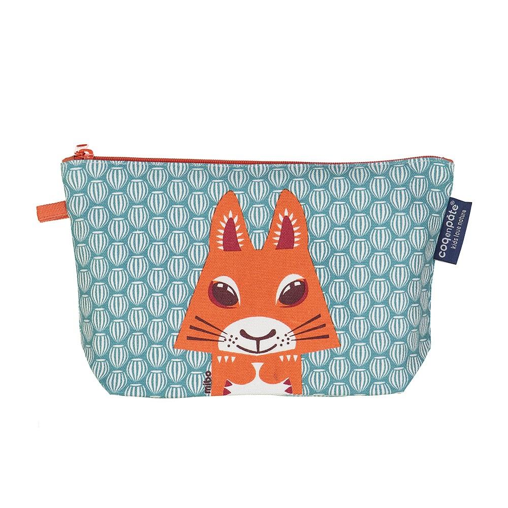 COQENPATE│法國有機棉無毒環保化妝包 / 筆袋- 畫筆兒的家 - 松鼠
