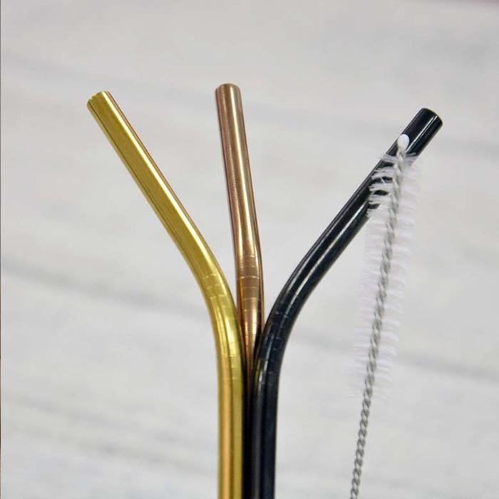 DESTINO STYLE|日本ROCCO 3色不鏽鋼環保吸管組(附清潔刷)
