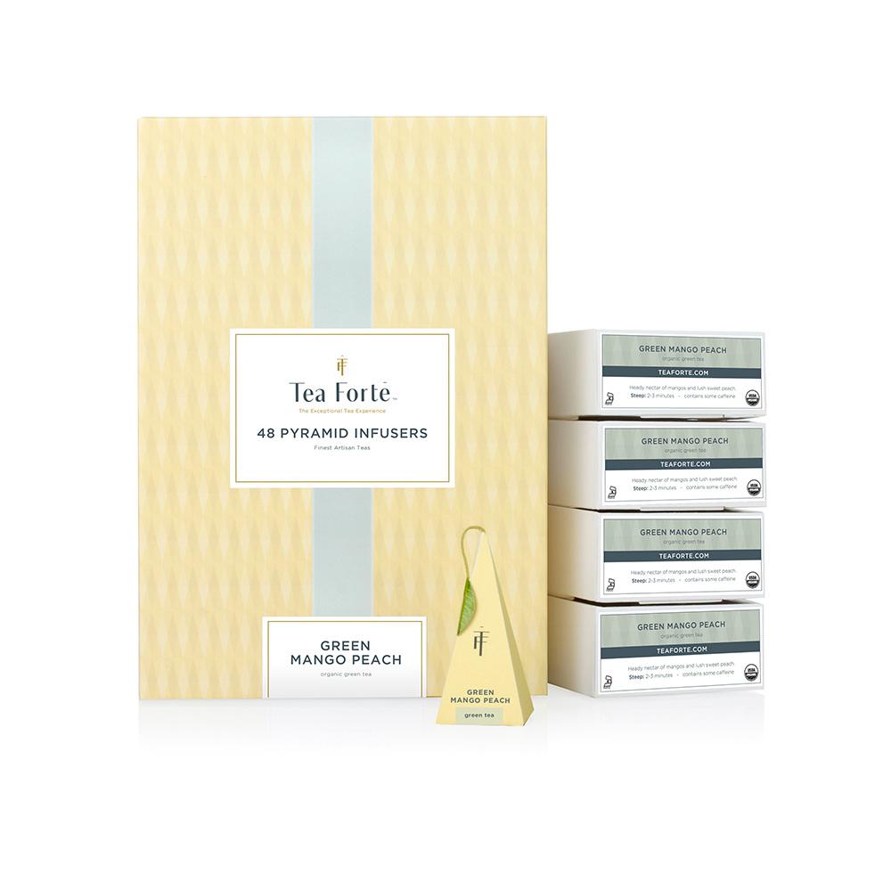Tea Forté|48入金字塔型絲質茶包 - 蜜樹香桃綠茶