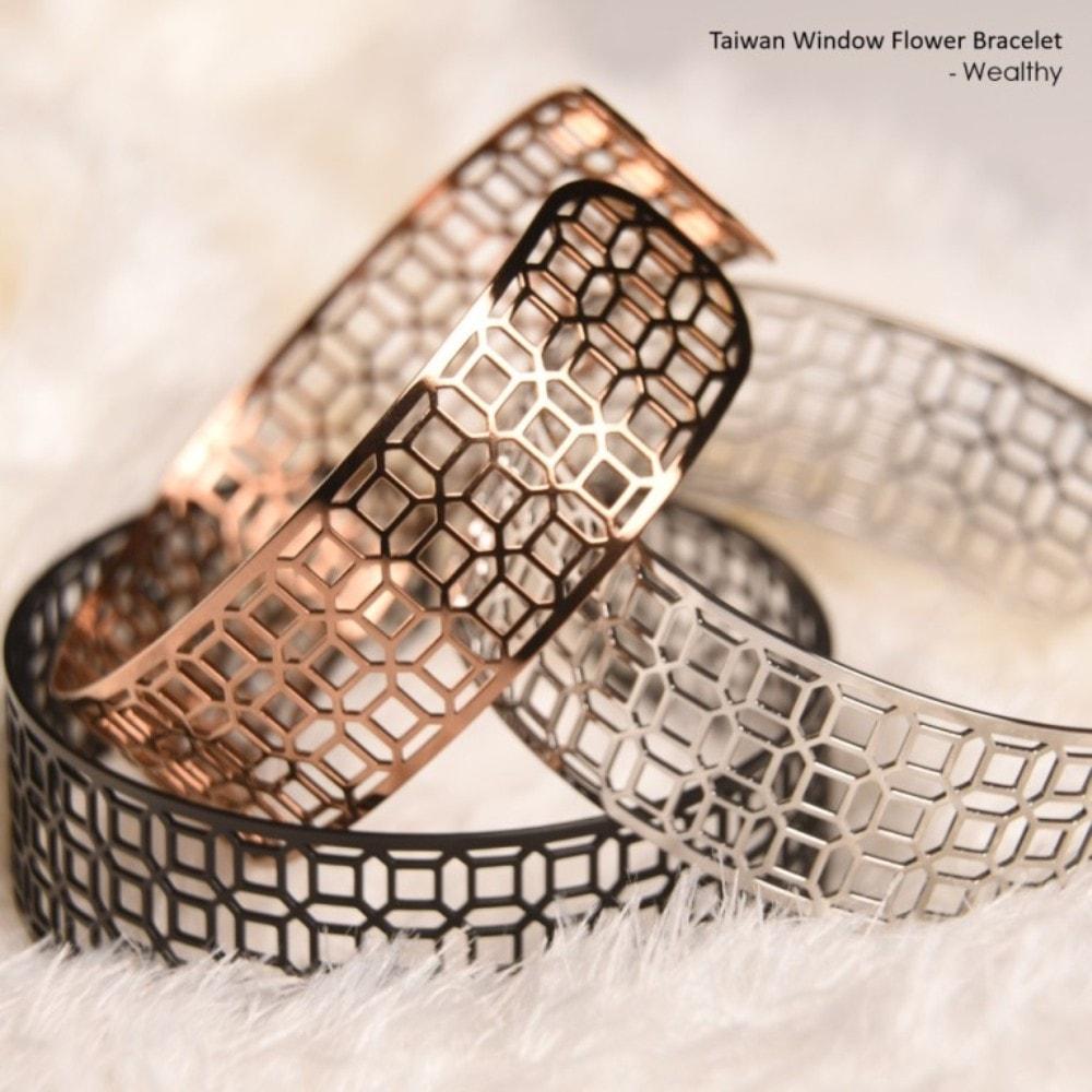 Magi-Steel|台灣窗花手環-富貴豐盛(寬版,玫瑰金色)