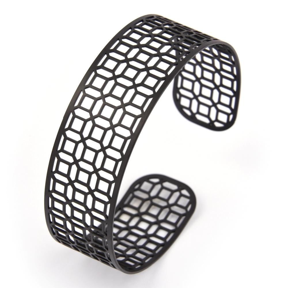Magi-Steel|台灣窗花手環-富貴豐盛(寬版,霧黑色)