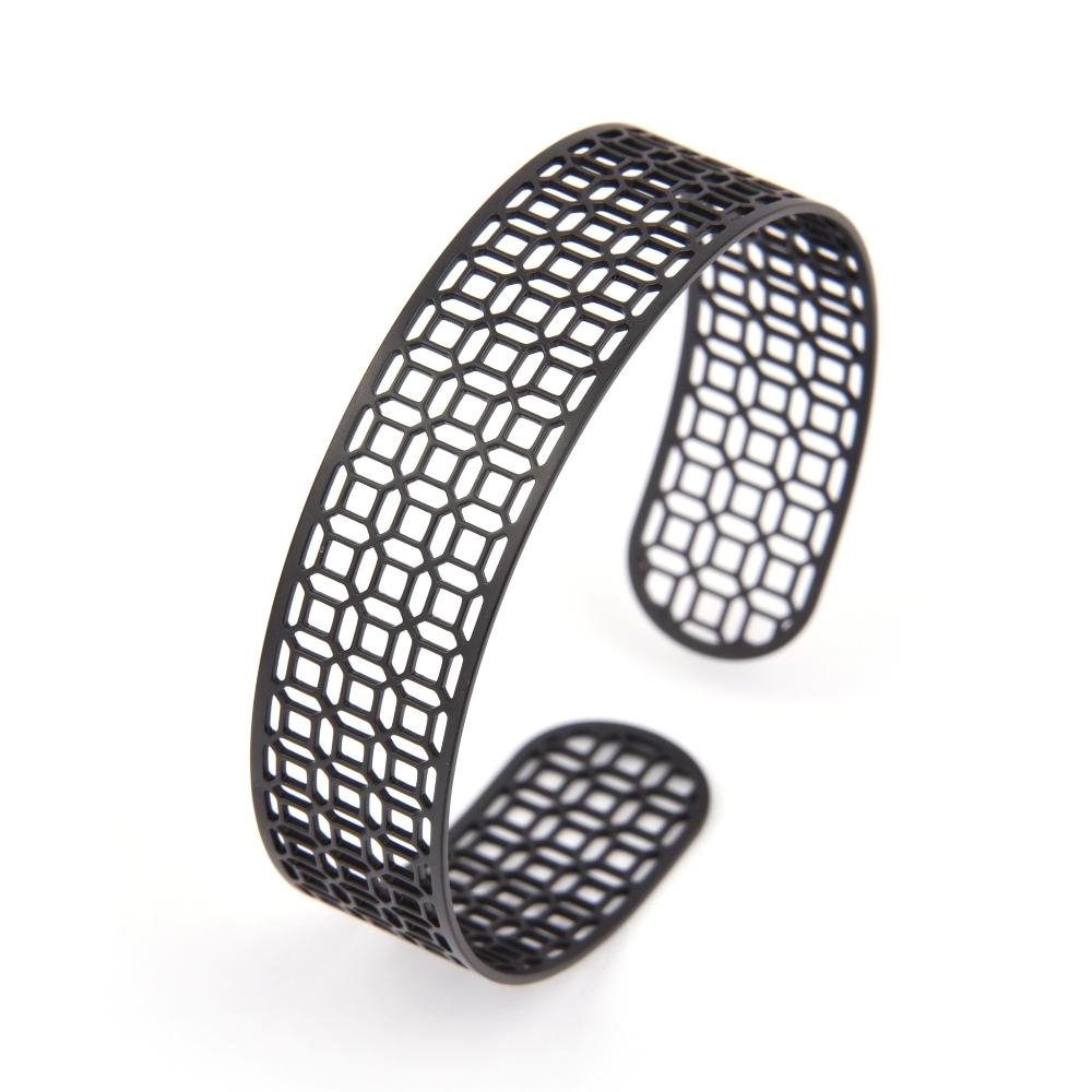 Magi-Steel|台灣窗花手環-富貴豐盛(窄版,霧黑色)